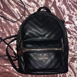 Victoria's Secret black mini leather backpack